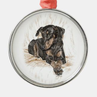Doberman Dog Natural Ears Metal Ornament
