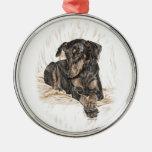 Doberman Dog Natural Ears Round Metal Christmas Ornament