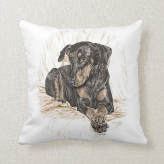 Doberman Dog Natural Ears Throw Pillow