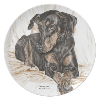 Doberman Dog Natural Ears Party Plates