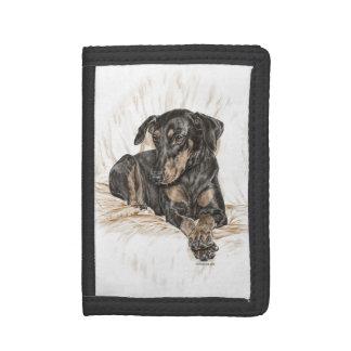 Doberman Dog Natural Ears Tri-fold Wallet