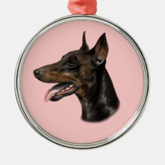 Doberman Dog Painting Metal Ornament