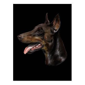 Doberman Dog Pastel Painting Postcard