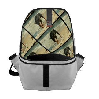 Doberman en la imagen de la pintura de la playa bolsas de mensajeria