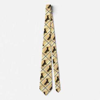 Doberman en las cañas secas que pintan imagen corbatas personalizadas