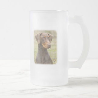 Doberman Frosted Glass Beer Mug