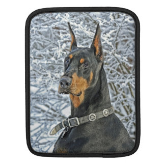 Doberman Frosty Day Sleeves For iPads