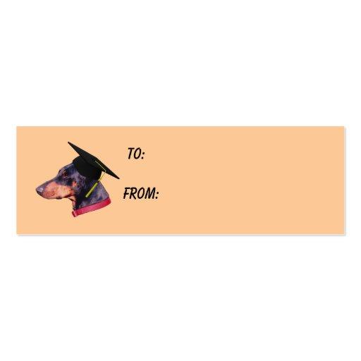 Doberman graduation cap dog photo gift tag mini business for Dog tag business cards