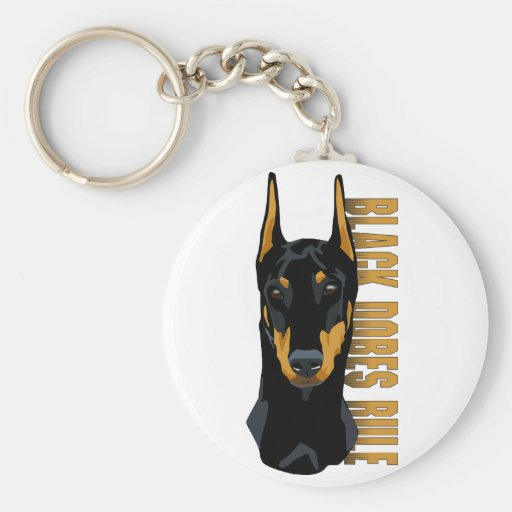 Doberman Head, Black Dobes Rule Basic Round Button Keychain