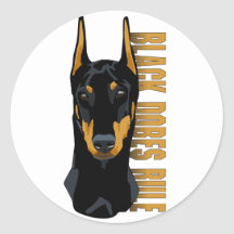 Doberman Head, Black Dobes Rule Round Stickers