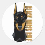 Doberman Head, Black Dobes Rule Classic Round Sticker