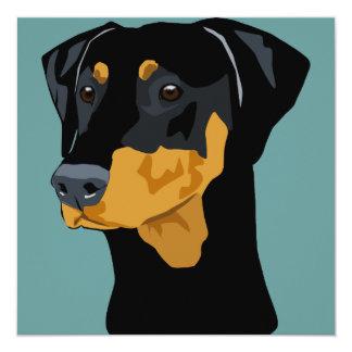 Doberman Head, Black, Uncropped 5.25x5.25 Square Paper Invitation Card