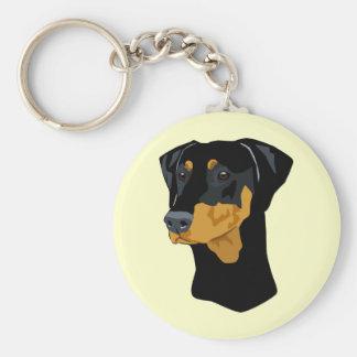 Doberman Head, Black, Uncropped Keychain