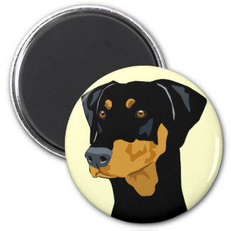 Doberman Head, Black, Uncropped 2 Inch Round Magnet