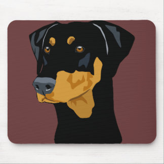 Doberman Head, Black, Uncropped Mousepads