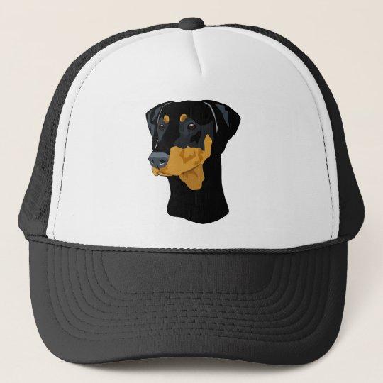 Doberman Head, Black, Uncropped Trucker Hat