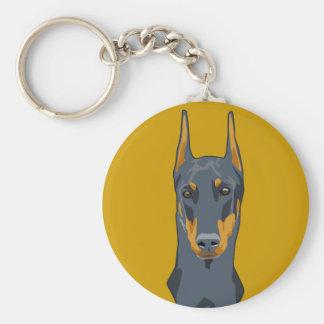 Doberman Head, Blue, Cropped Keychain
