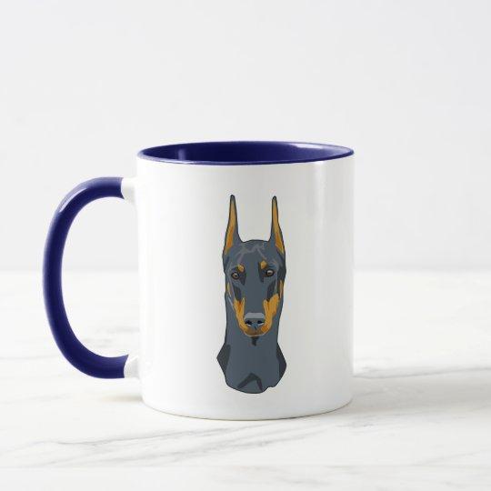 Doberman Head, Blue, Cropped Mug