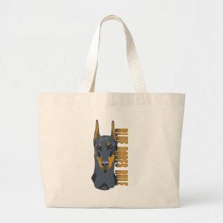 Doberman Head, Blue Dobes Rule Jumbo Tote Bag