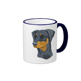 Doberman Head, Blue, Uncropped Mugs