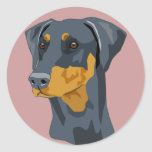 Doberman Head, Blue, Uncropped Round Stickers