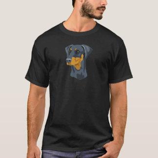 Doberman Head, Blue, Uncropped T-Shirt