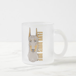 Doberman Head, Fawn Dogs Rule Frosted Glass Coffee Mug