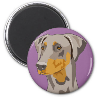 Doberman Head, Fawn, Uncropped 2 Inch Round Magnet