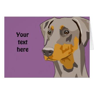 Doberman Head, Fawn, Uncropped Greeting Card