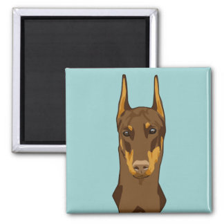 Doberman Head, Red 2 Inch Square Magnet