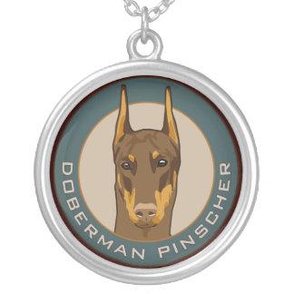 Doberman head, red round pendant necklace