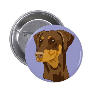 Doberman Head, Red, Uncropped 2 Inch Round Button
