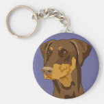 Doberman Head, Red, Uncropped Basic Round Button Keychain