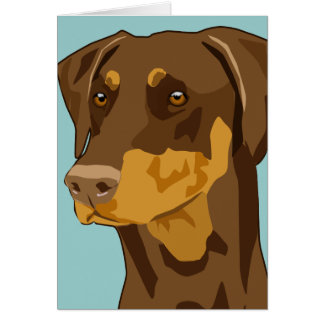 Doberman Head, Red, Uncropped Card