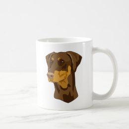 Doberman Head, Red, Uncropped Coffee Mug
