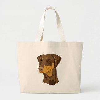 Doberman Head, Red, Uncropped Large Tote Bag