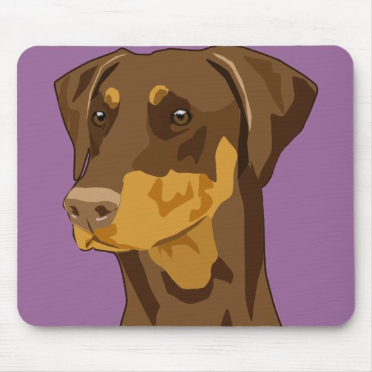 Doberman Head, Red, Uncropped Mouse Pad