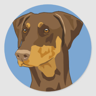 Doberman Head, Red, Uncropped Classic Round Sticker