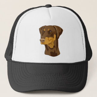 Doberman Head, Red, Uncropped Trucker Hat
