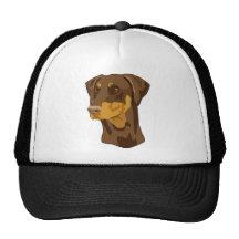 Doberman Head, Red, Uncropped Trucker Hats