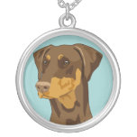 Doberman head, uncropped, red round pendant necklace