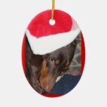 Doberman (Hero) in Santa Hat Christmas Tree Ornament
