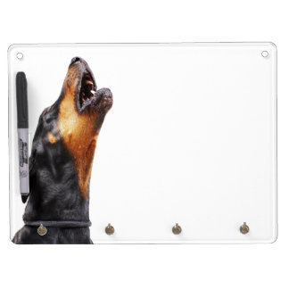 Doberman howling dry erase board with keychain holder