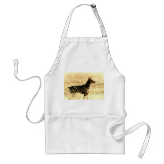Doberman in Dry Grass Painting Image Aprons