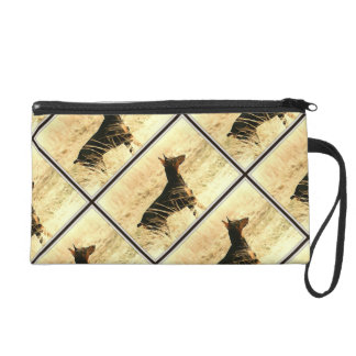 Doberman in Dry Grass Painting Image Wristlet Clutch