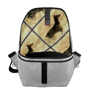 Doberman in Dry Grass Painting Image Courier Bag