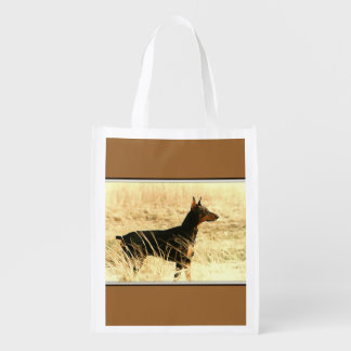 Doberman in Dry Grass Painting Image Grocery Bags