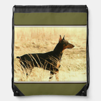 Doberman in Dry Grass Painting Image Drawstring Backpacks