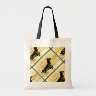 Doberman in Dry Grass Painting Image Tote Bag