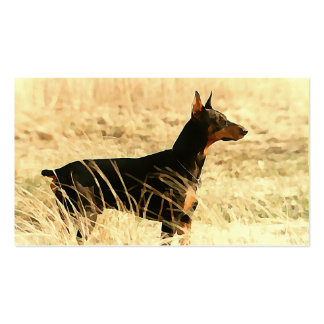 Doberman in Dry Reeds Painting Image Business Card Templates